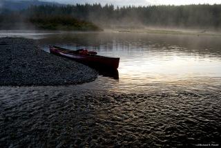 Canoe on Anutz Lake, near a stream inflow